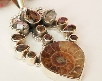 Fossil Ammonite W/Smoky Quartz Pendant and Necklace