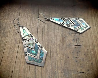 Vintage Mexican Jewelry Sterling Silver Earrings with Abalone Taxco Silver Jewelry