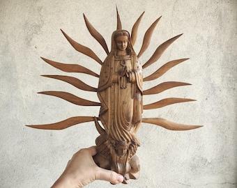 Carved Wood Virgin of Guadalupe Statue, Santos Bulto, Virgen de Guadalupe Mexican Folk Art