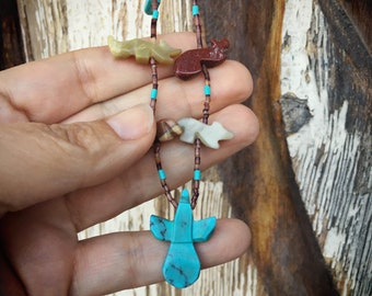 Turquoise Fetish Necklace Southwestern Style, Native American Indian Style Jewelery Gift for Mom