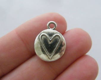 8 Heart charms antique silver tone H143
