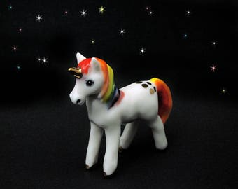 Porcelain Miniature ceramic rainbow unicorn figurine hand crafted miniature unicorn totem with 24k gold trim