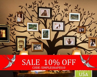Summer Sale - Wall Decal Family Tree Wall Decal Sticker Family Photo Tree Family Like Branches on a Tree Vinyl Wall Sticker Photo Tree