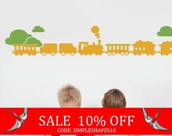 Summer Sale - Train with Clouds Decal set - Kids Vinyl Wall Sticker