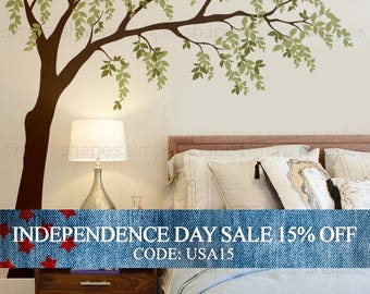 Independence Day Sale - Weeping Willow Tree Decal with leaves, Willow Tree Wall Decal, Leaves Wall Decal, Baby Nursery Wall Decal, Nursery