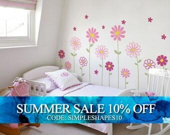 Flower Wall Decal - Daisy Wall Sticker - Floral Wall Decor - Childrens Flowers - Baby Nursery Flower Decals - Nursery Decal Girls Room