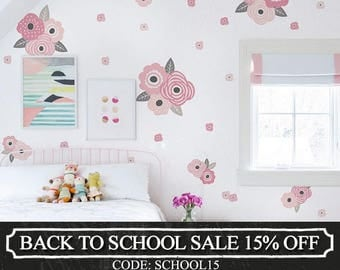 Kids Flower Wall Sticker, Romantic Pink and Grey Blooms Wall Stickers - Peel and Stick Wall Stickers Kids Room Decor