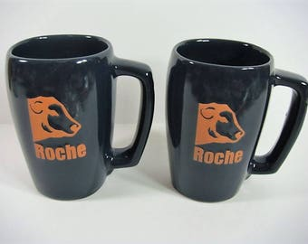 2 Roche Mugs Frankoma Advertising for Roche Cattle Frankoma Stein