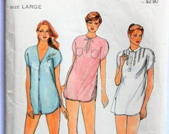 1980s Pajama pattern, nightshirt & shorts, loose fitting top, vintage sewing pattern, Butterick  3709 misses size large, 16, 18  bust 38, 40