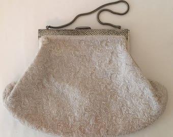 Vintage White Beaded Evening Bag~Handbag