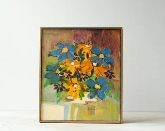 Vintage Flower Painting, Mid Century Modern Wall Art, Framed Art