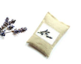 Organic lavender sachet, gift for her, linen sachet, drawer freshener, natural sachet bag, scented sachet