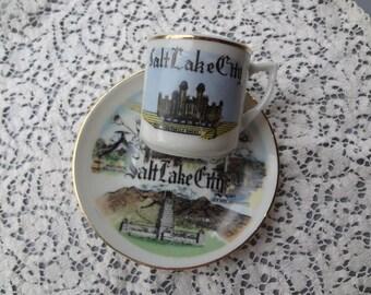 Vintage Souvenir  Mini-Teacup and Saucer from Salt Lake City Utah.