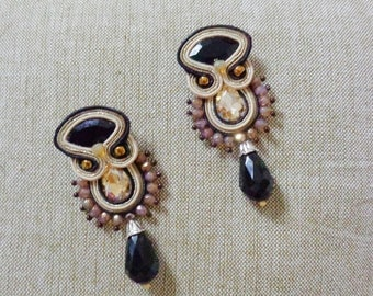 Black gold earrings, Soutache Earrings, chandeliers, fiber art earrings, embroidered earrings, gift for her, beaded earrings