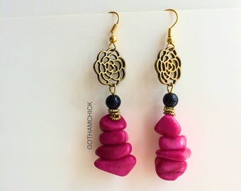 Lady in Red Dyed Coral Dancer Earrings