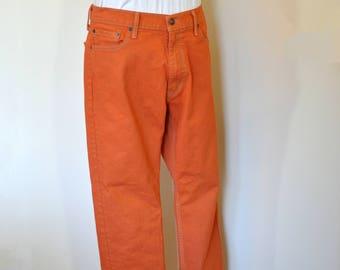 Orange Mens 36 Levi's 513 Denim Jeans - Tangerine Orange Dyed Denim Vintage Levi's Denim Pants - Adult Mens Size 36 W x 30 L