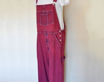 Cherry Red Large Bib OVERALL Pants - Red Wine Dyed Upcycled Vintage Arizona Cotton Denim Overalls - Adult Womens Size Large (38 w x 30 L)
