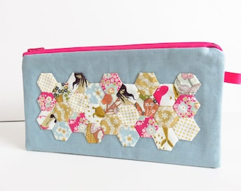 Tiny Hexagon Applique Zippered Pencil Case