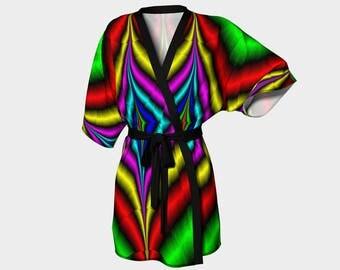Zipper Down Titanium Kimono Robe