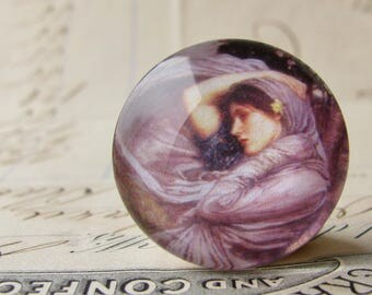 "John William Waterhouse ""Boreas"" 25mm glass cabochon, artisan crafted, Art History collection, purple, 1 inch circle, bottle cap size"
