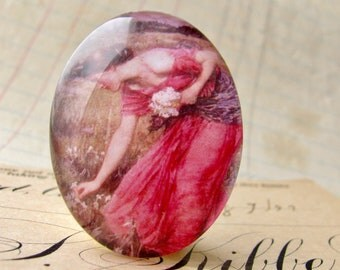 """John William Waterhouse """"Narcissus"""" 40x30mm or 25x18mm glass oval cabochon, artisan crafted, fine art cabochon, pink, Art History"""