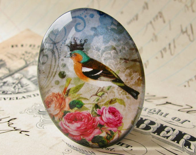 Songbird with crown, from our Beautiful Birds collection of handmade glass cabochons, choose 40x30mm or 25x18mm oval, pink roses