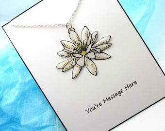 Resin Lotus or Lily Pad Flower Necklace, Hand Painted from Original Art, Silver Chain, Easter Gift Card Included
