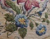 Vintage 1960's Needlepoint Floral Canvas | Needlepoint Chair Seat Cover | Red Blue Green Needlepoint | Needlepoint Canvas for Repurposing