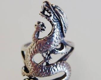 ON SALE Nice Large Embossed Sterling Dragon Ring