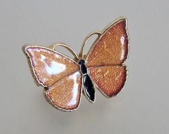 Vintage Gold Enamel Butterfly Pin