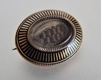 Antique Victorian 14K Gold Enamel Woven Hair Memorial Mourning Pin