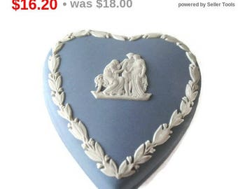Wedgwood Blue Jasperware Heart Trinket Box, Made in England