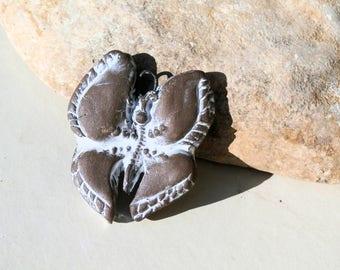 ooak butterfly pendant, handmade earthy supply