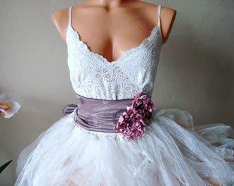 Dusty Purple Bridal Sash Belt, Purple Wedding Sash, Dusty Plum dress belt, wide dress belt, kimano belt