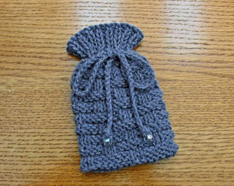 Pouch Bag, Amulet Bag, Dice Bag, Small Drawstring Bag, Knitted Gift Bag, Playing Cards Bag