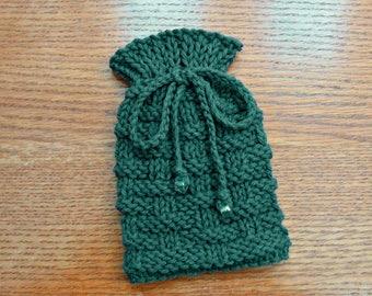Small Drawstring Pouch, Knitted Bag, Small Drawstring Bag, Knit Gift Bag, Amulet Bag, Dice Bag