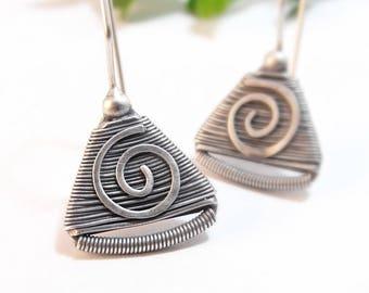 Sterling Silver Earrings, Fine Silver Earrings, Dangle Earrings, Wire Wrap Earrings, Tribal Earrings, Handmade Swirl Earrings Holiday Gift
