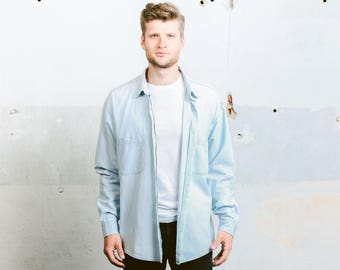 Vintage Rifle Denim Shirt . Oversized Blue Shirt Men's 90s Grunge Jacket Overshirt Boyfriend Normcore Gift Chambray Shirt. size XL