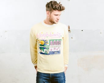 80s Graphic Print Sweatshirt . Vintage Men Sweater Bold Sweater Hipster Outfit Boyfriend Gift . size Small