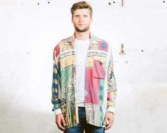 Men's Summer Pattern Shirt . Vintage 90s Beach Shirt Long Sleeve Button Down Shirt Floral Atomic Print Shirt . size Large