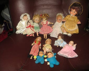 vintage lot of 12    little dolls 1950 / 1960s  mixed lot