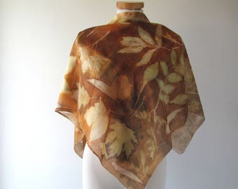 Silk scarf Brown scarf blue scarf plant print scarf Brown Mustard silk scarf women Leaf pattern Eco dye silk scarf handpainted