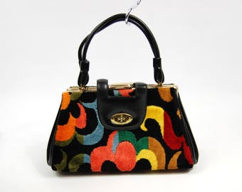 1960s Colorful Carpet Handbag - Abstract Fabric Covered Purse - Multi compartment Handbag - Black Vinyl yellow Orange Red Green 60s
