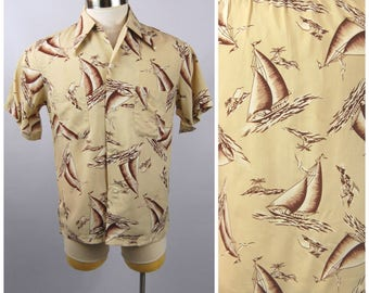 1940s 1950s Rayon Mens Shirt - 40s Novelty Print Rayon Sailboats Palm Trees Boats Nautical Scene // Brown and Beige // Size Medium Cabana