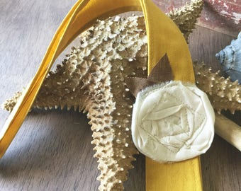 Headwrap Headband // Goldenrod Linen and Cream Rose // Fabric Headband