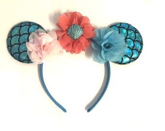 Mermaid DIY Kit Blue Hot Pink Green Floral Mermaid Headband Kit- Mermaid Flower Headband- Magical Mermaid Headband -Mermaid Headband