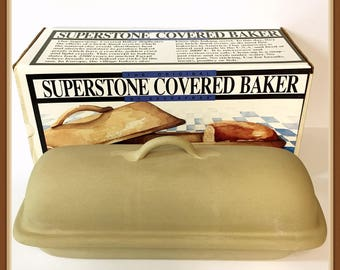 Superstone Covered Baker, Sassafras, Pottery, Never used, Made USA, Natural Clay, Orig. Box, Vintage Dated 1991,