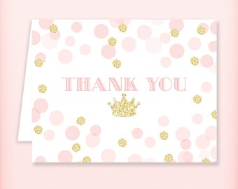 Pink and Gold Princess Baby Shower Thank You Card, Royal Pink and Gold Glitter Thank You Note - PRINTABLE INSTANT DOWNLOAD