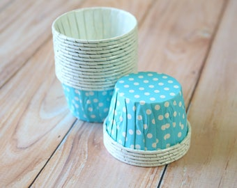Light Blue Polka Dot paper Candy Cups cupcake liner