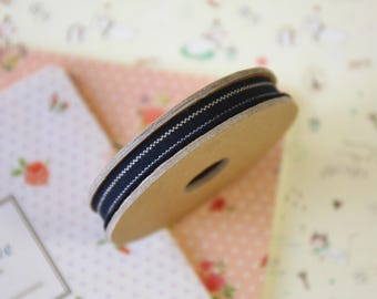 Black with Beige Stripes Thin Natural Ribbon